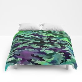 Foliage Abstract Pop Art In Jade Green and Purple Comforters