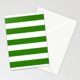 Napier green - solid color - white stripes pattern Stationery Cards