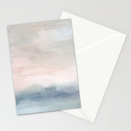 Blush Pink Mint Sky Baby Blue Abstract Ocean Sky Sunrise Wall Art, Water Clouds Painting Stationery Cards