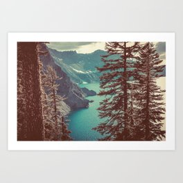 Vintage Blue Crater Lake and Trees - Nature Photography Art Print