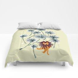 Lion on dandelion Comforters