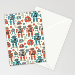 Retro Space Robot Seamless Pattern Stationery Cards