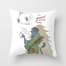 A Kup of Krampus Throw Pillow