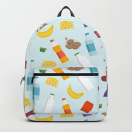 Vector seamless pattern of flying grocery store food  products Backpack