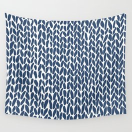 Hand Knit Zoom Navy Wall Tapestry