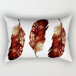 Three Feathers Brown Rectangular Pillow