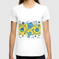 airplanes T-shirts featuring blue airplanes by Isabella Asratyan