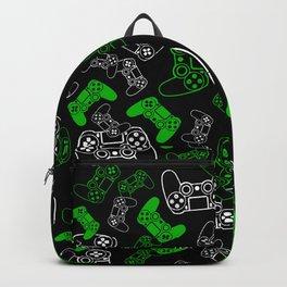 Video Games Green on Black Backpack