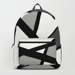 Geometric Line Abstract - Black Gray White Backpack