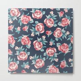 Beautiful Watercolor Flowers Pattern Art Metal Print