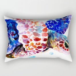 Sea Turtle, blue rainbow Rectangular Pillow