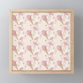 Flamingo And Flamingo Ice Cream Pattern Framed Mini Art Print
