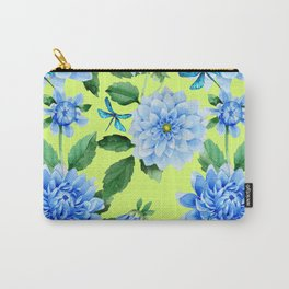 Modern blue lime punch watercolor dahlia floral pattern Carry-All Pouch