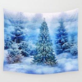 Christmas tree scene Wall Tapestry