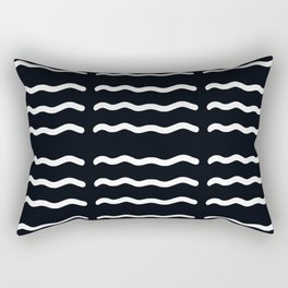 ABSTRACT WAVY LINES . BLACK + WHITE Rectangular Pillow