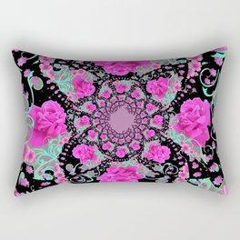 CERISE PINK ROSES & TURQUOISE RIBBONS ON BLACK Rectangular Pillow