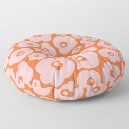 Retro Flower Pattern 142 Orange and Pink Floor Pillow