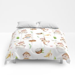Tropical pink brown green watercolor monkey coconut floral Comforters
