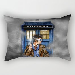 10th Doctor With Blue phone Box Rectangular Pillow