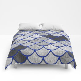 Dragon Scales with Blue Outline Comforters