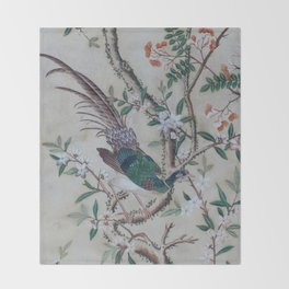 Antique Chinoiserie with Bird Throw Blanket