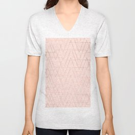 Modern white rose gold abstract geometric triangles on blush pink Unisex V-Neck