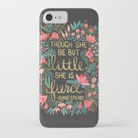 quote iPhone & iPod Cases featuring Little & Fierce on Charcoal by Cat Coquillette