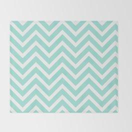 Chevron Stripes : Seafoam Green & White Throw Blanket