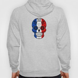Sugar Skull with Roses and Flag of France Hoody