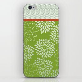 Dahlia Scallops Green and Orange iPhone Skin