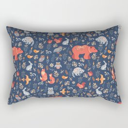Fairy-tale forest. Fox, bear, raccoon, owls, rabbits, flowers and herbs on a blue background. Seamle Rectangular Pillow