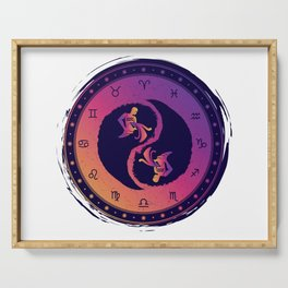 Aquarius Eleventh Zodiac Sign Yin Yang Serving Tray