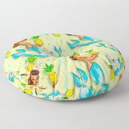 Tropical Pineapple Mermaid with Merkitties Floor Pillow