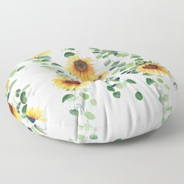 Eucalyptus and Sunflowers Garland  Floor Pillow