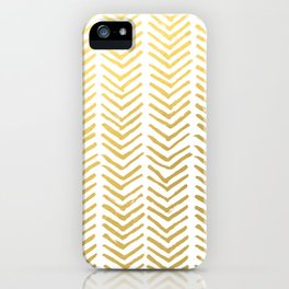 Brush painted chevron in gold iPhone Case