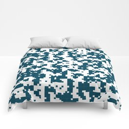 Small Pixel Big Pixel - Geometric Pattern in Dark Blue Comforters
