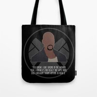 agents of shield Tote Bags featuring Agents of S.H.I.E.L.D. - Mac by MacGuffin Designs