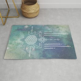 Mandala Flower of Life in Turquoise Stars Rug