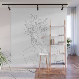 Minimal Line Art Woman with Magnolia Wall Mural