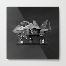 F-35C Lightning II Joint Strike Fighter Cartoon Metal Print
