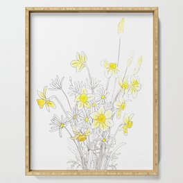 white daisy and yellow daffodils ink and watercolor Serving Tray