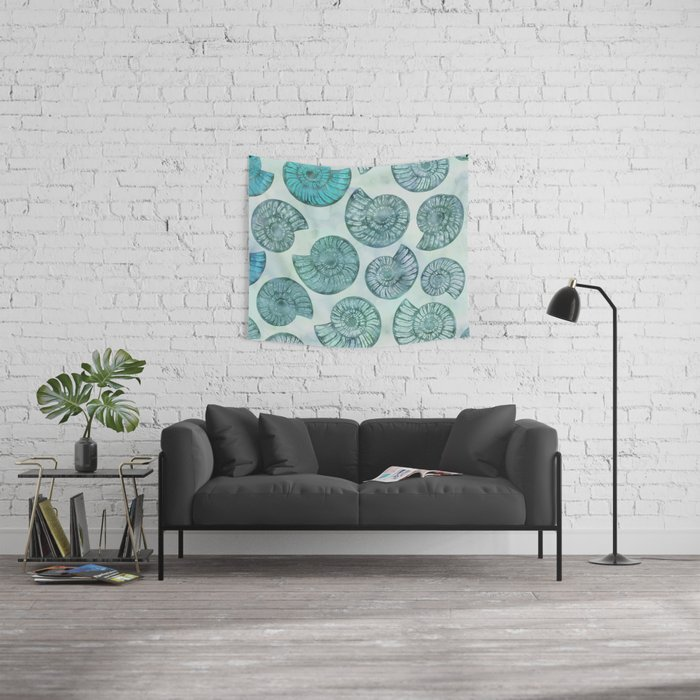 Shimmering Underwater Shell Scenery Aqua Colors Wall Tapestry