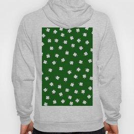White Shamrocks Green Background Hoody