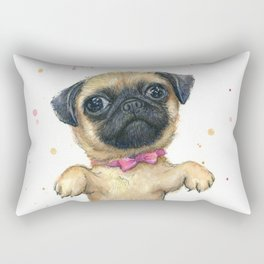 Cute Pug Puppy Dog Watercolor Painting Rectangular Pillow