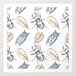 Bugs and leaves Art Print