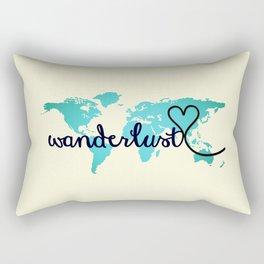 Wanderlust Aqua Ombre World Map, Off-white Rectangular Pillow