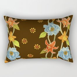 Vintage Flowery Serpentine Rectangular Pillow