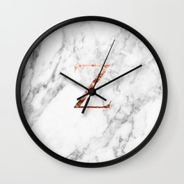 Monogram rose gold marble Z Wall Clock