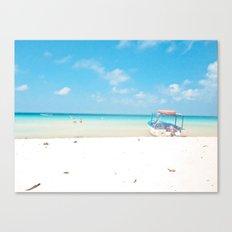 Lone boat feelin' blue Canvas Print