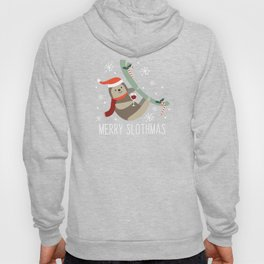 Merry Slothmas Funny Christmas Santa Hat Holly Hoody